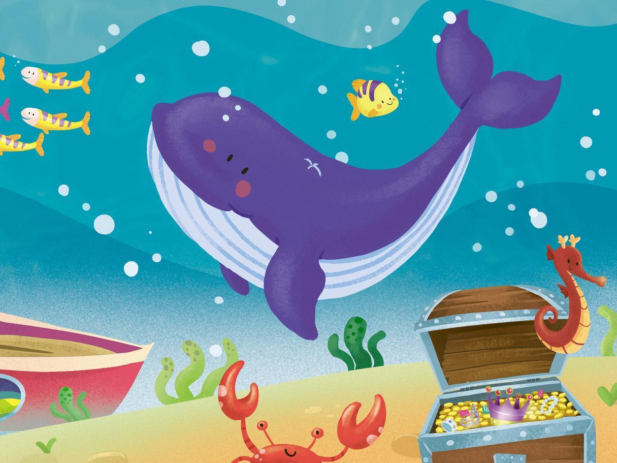 Viola la piccola balena bimbi sani e belli for Immagini di pesci da stampare