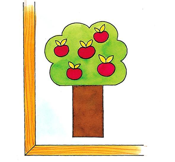 albero mele su vetro