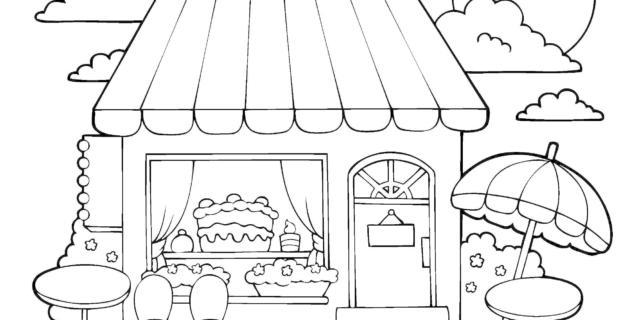 Casa dei dolci – disegno da colorare