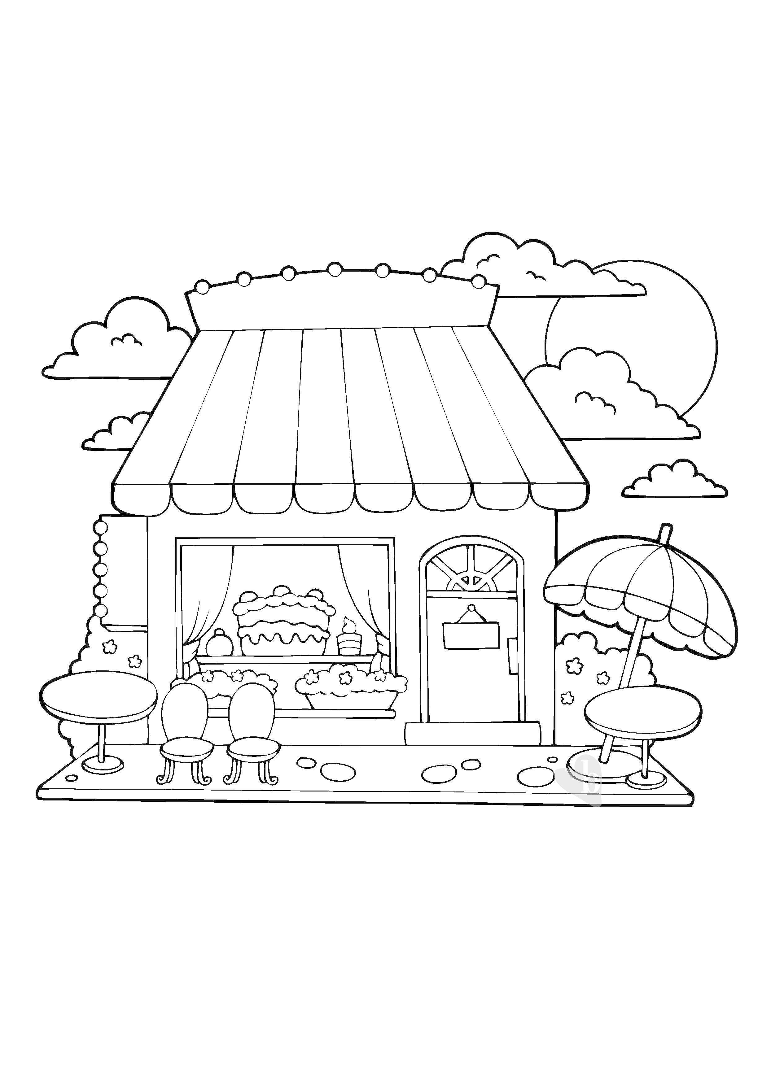 casa dei dolci da colorare