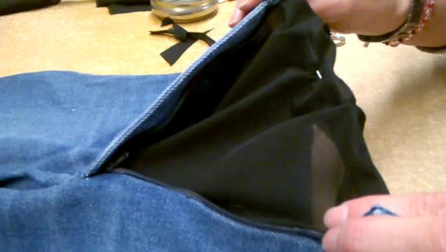 jeans triangolo tessuto