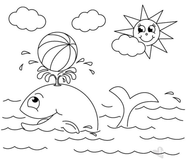 Balena e sole disegno colorare