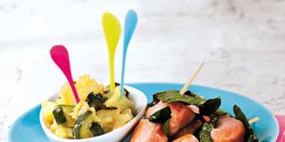 Spiedini di salmone con verdure
