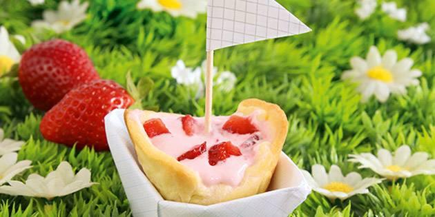 Barchette con crema di fragole