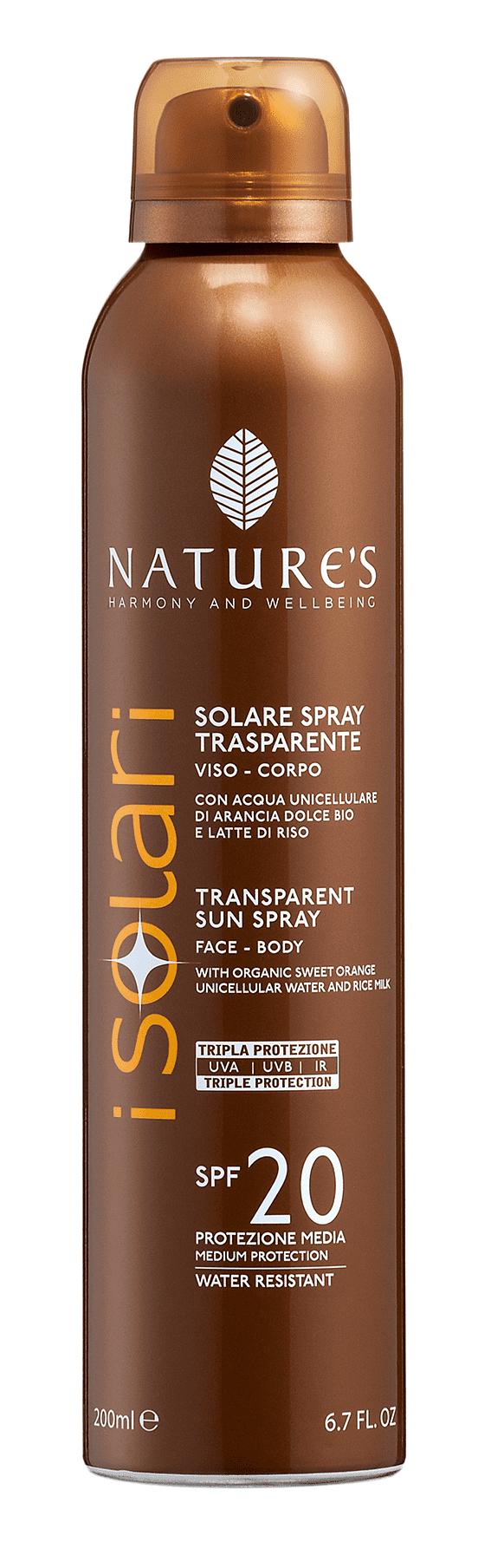 iSolari Solare spray trasparente Spf 20, Nature's